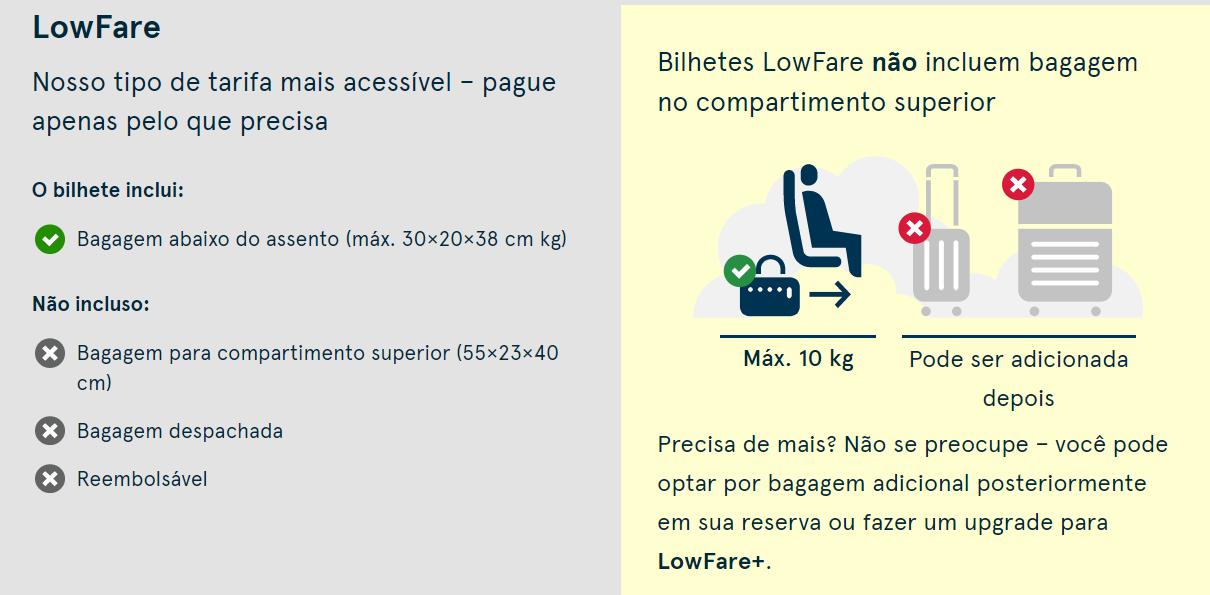 bagagem low fare